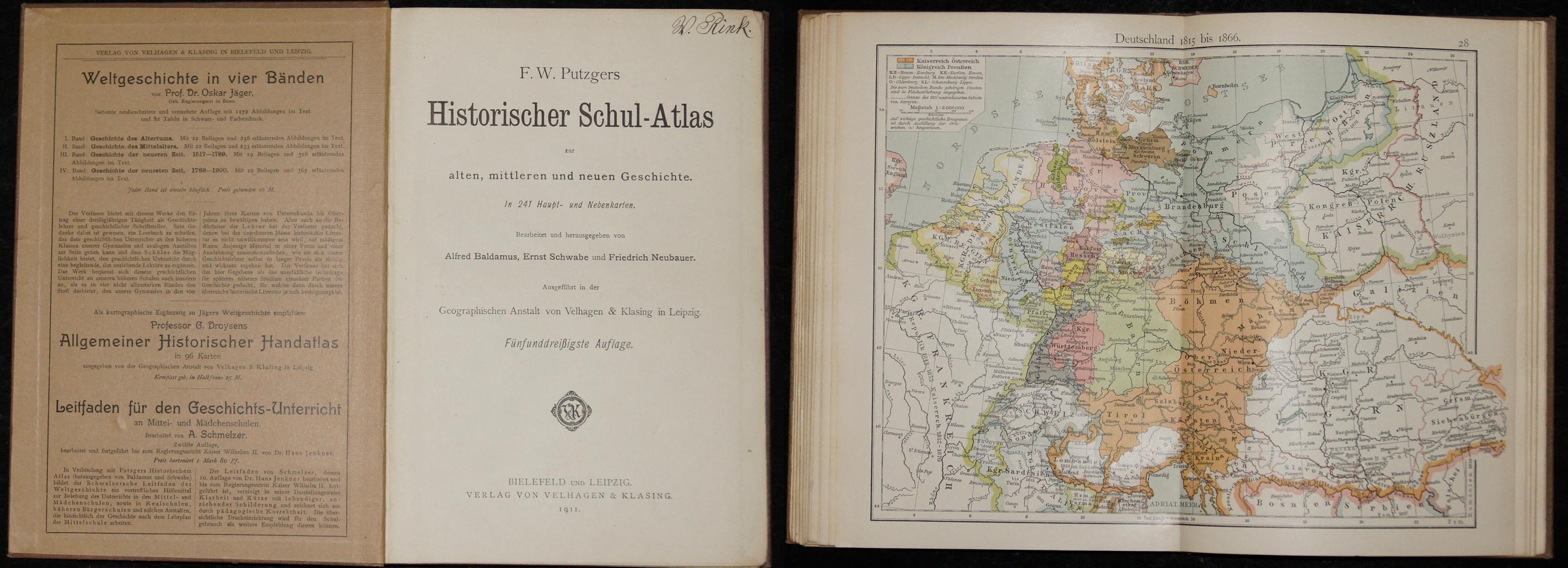 Velhagen & Klasing  F. W. Putzgers Historischer Schul-Atlas  zur alten, mittleren und neuen Geschichte in 241 Haupt – und Nebenkarten.
