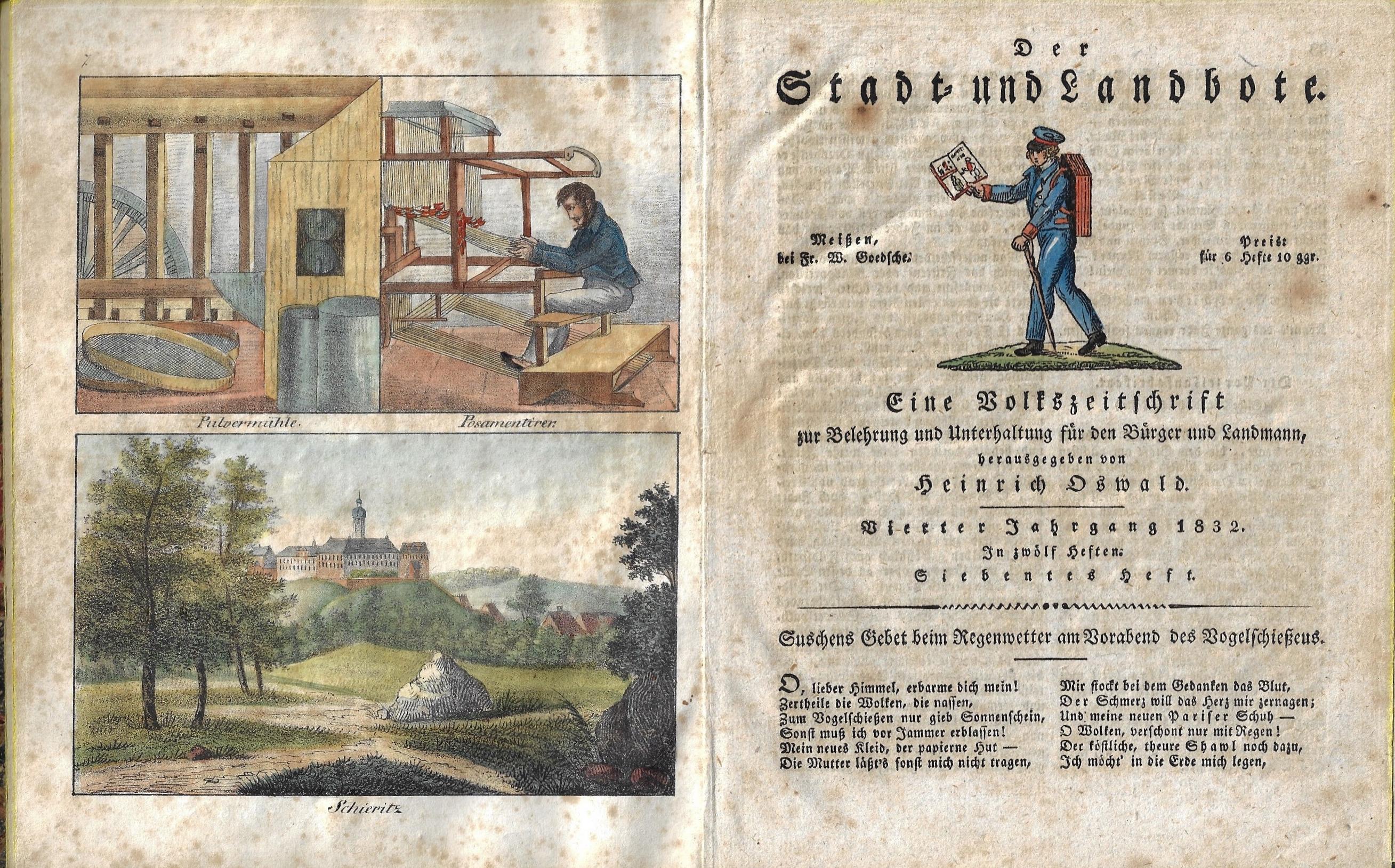 Oswald  Der Stadt- und Landbote. Eine Volkszeitschrift zur Belehrung und Unterhaltung für den Bürger und Landmann, herrausgegeben von Heinrich Oswakd..1832