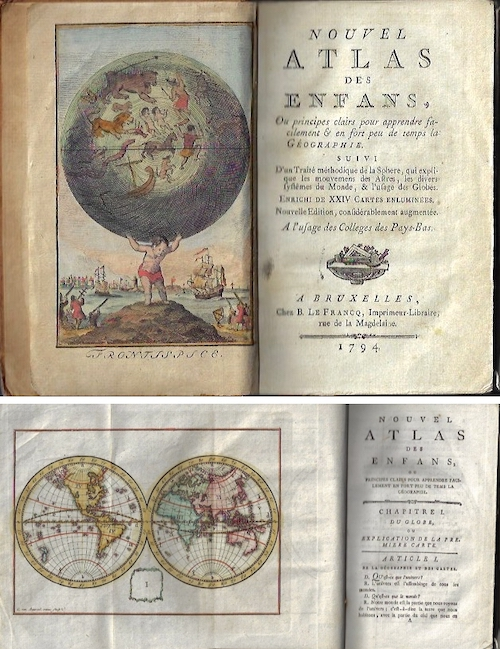 Bruyset Pere & Fils Jean-Marie Atlas des Enfans, ou nouvelle méthode pour apprendre la Géographie; avec un Nouveau Traité de la Sphère, et XXIV Cartes enluminées.