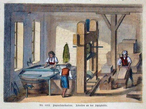 Anonymus  Papierfabrikation. Arbeiten an der Schöpfhütte
