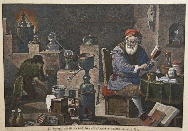 Anonymus  Der Alchimist. Gemälde von David Teniers dem jüngeren im königlichen Museum im Haag.