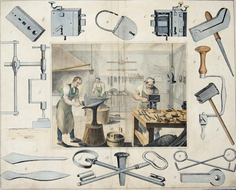 Bertsch/Schulz  no title- Eisenschmiede (Werkzeug)/ iron smith (tools)-Nebst ihren hauptsächlichsten Werkzeugen und Fabrikaten. Stgt. u. Eßlingen, Schreiber u. Schill