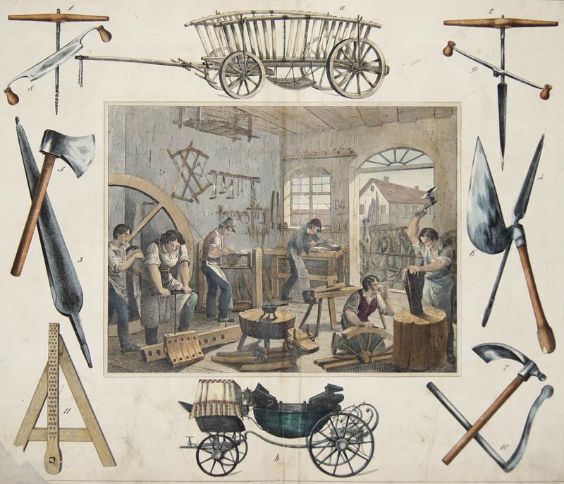 Bertsch/Schulz  no title – Wagenbauer oder Wagner/ wagon-maker-  Nebst ihren hauptsächlichsten Werkzeugen und Fabrikaten. Stgt. u. Eßlingen, Schreiber u. Schill