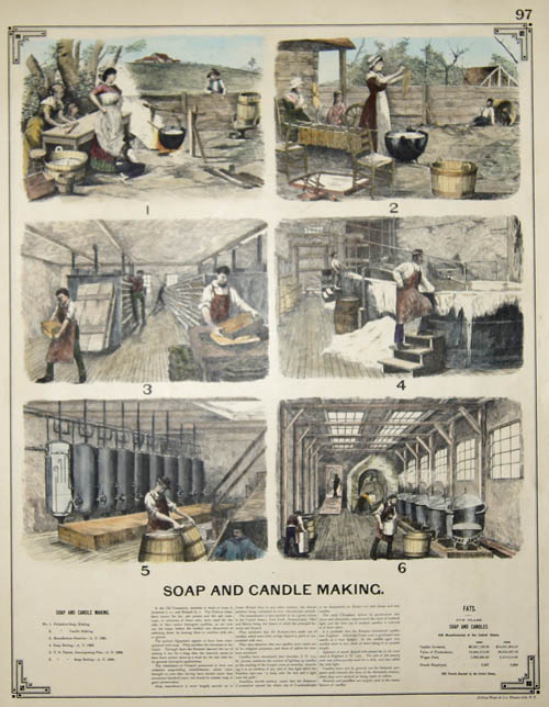 Bien/Julius & Co. Photo-lith NY,  Soap and candle making. 97 / Stone Sawing. 98