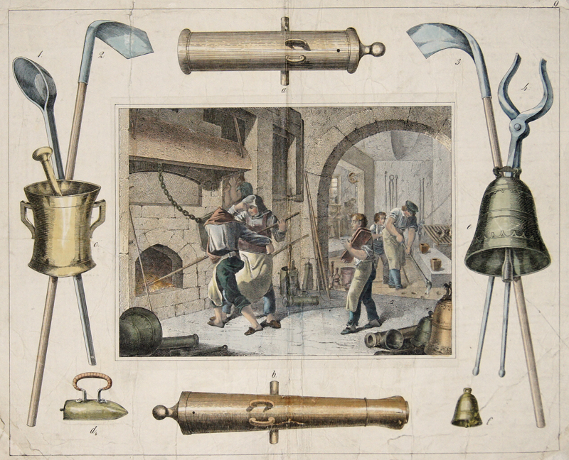 Bertsch/Schulz  no title – Glockengießer/ bell founder – Nebst ihren hauptsächlichsten Werkzeugen und Fabrikaten. Stgt. u. Eßlingen, Schreiber u. Schill