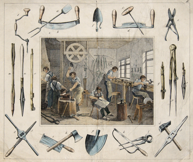 Bertsch/Schulz F./ C. no title – Werkzeugbauer/ tool manufactur – Nebst ihren hauptsächlichsten Werkzeugen und Fabrikaten. Stgt. u. Eßlingen, Schreiber u. Schill
