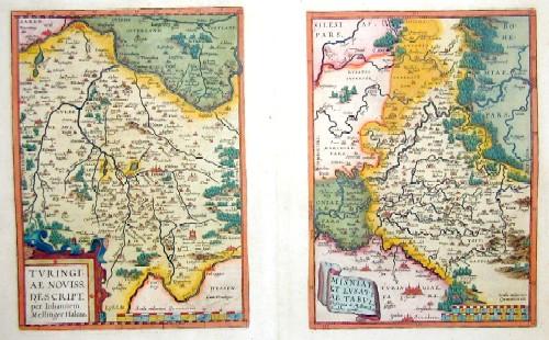 """Ortelius  Turingiae Novis Descript."""" und """"Misinae et Lusatiae Tabula"""