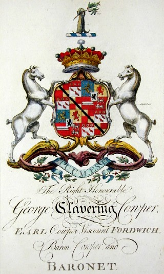 Edmondson J. The Right Honourable George-Clavering Cowper, earl Cowper Wiscount Fordwich Baron Cowper and Baronet
