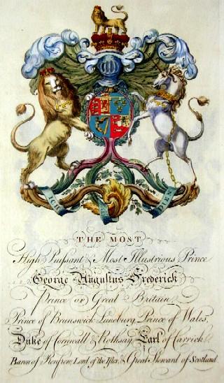 Edmondson J. The most High Puissant & most illustrious Prince George Hugustus Frederick Prince of Graet Britain, Prince of Brunswick-Luneburg, Prince of Wales…..