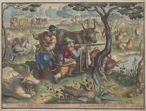 Stradanus/ Straet Jan van der Sic boue fictilio contecti sulphuris ictu/ Accensi occidunt pauidos formidineCeruos