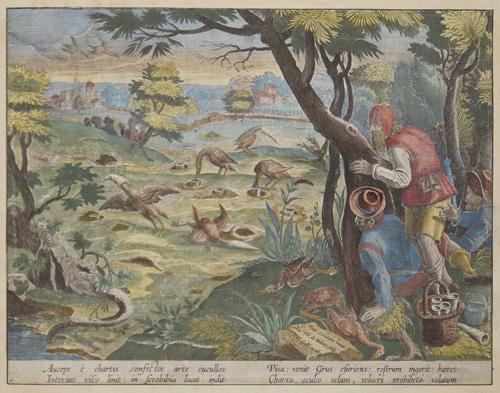 Stradanus/ Straet  Auceps é chartis confectus arte cucullos Interius fisco linit: in scrobibus locat: indit