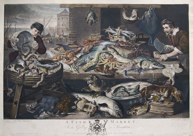 Earlom  A Fish Market. In the Gallery at Houghton. Published Junw 1. st 1782 by John Boydell
