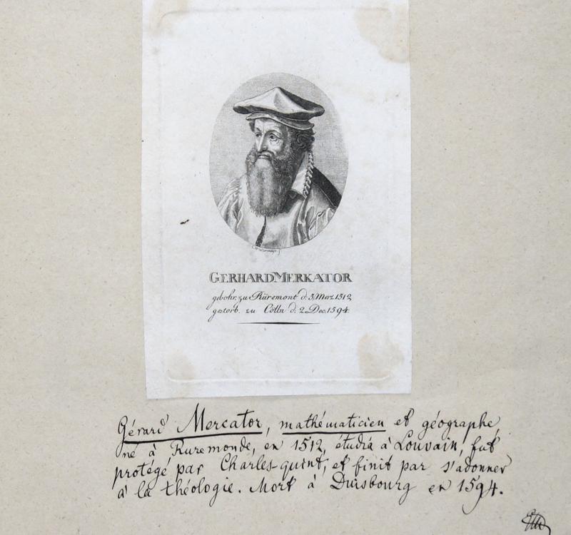Westermayr  Gerhard Merkator gebohr. Zu Rüremont d: 5. Merz 1512, gestorb. zu Cölln d: 2. Dec. 1595.