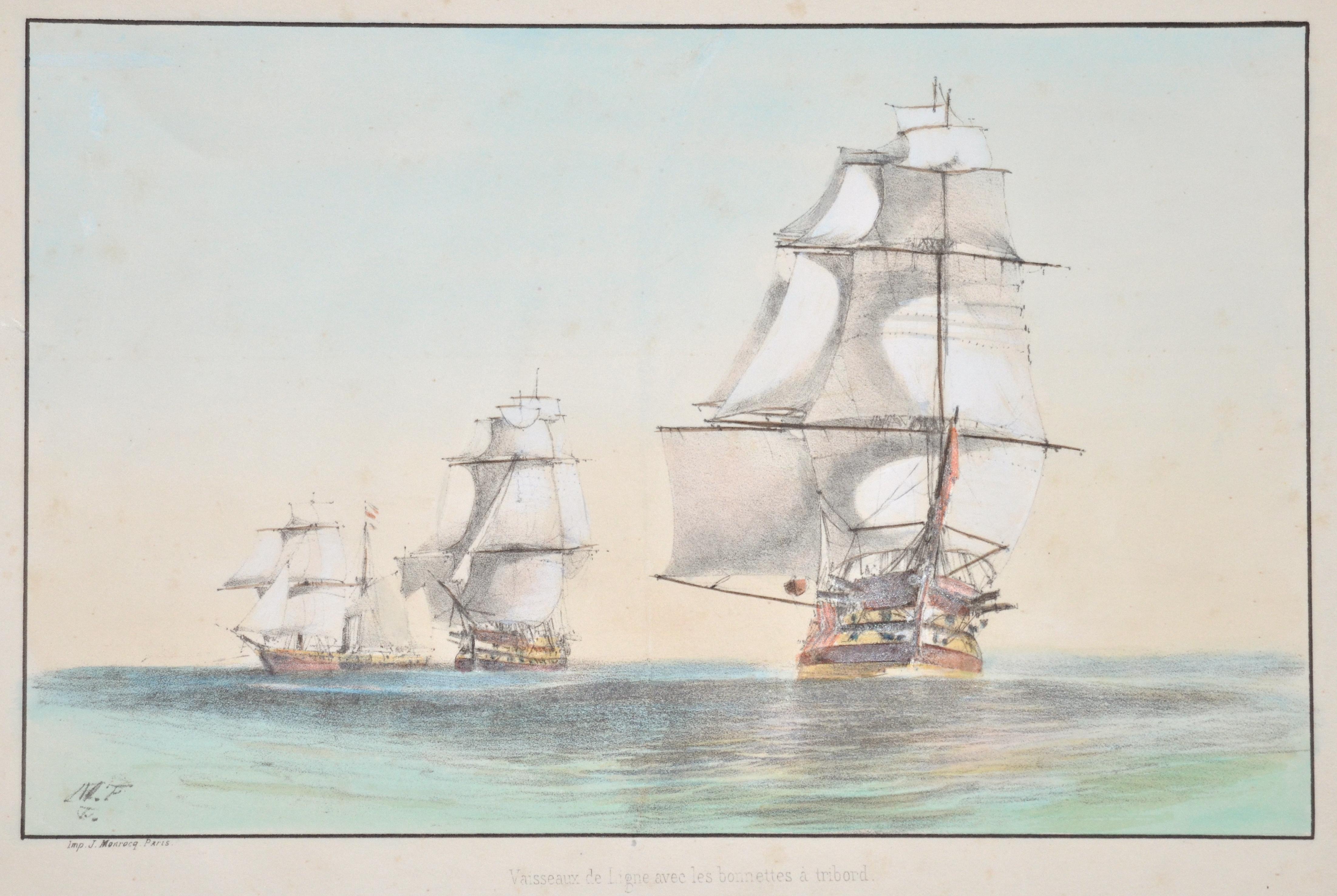 Monrocq  Vaisseaux de Ligne avec les bonnettes à tribord.