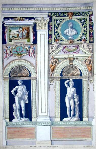 Carraccius Annibal Tabula I Farnesiana Posticus quae apsidi subiacet sinistra facis, ab Aula ingredietibus obuia, simulacris picturis ac vario, aurioque plasici operis..