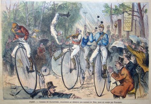 Tilly E.A. Paris.Courses de Velocipedes, organisees au Benefice des Inondes du Midi, dans le jardin des Tuileries