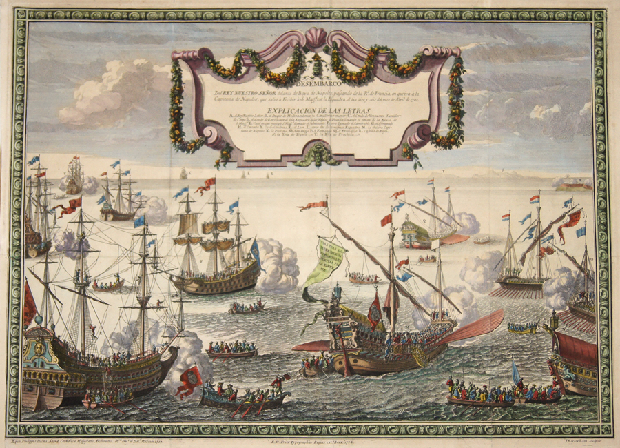 Fricx Eugène-Henri Desembarco Del Rey Nuestro Senor dalante de Baya de Napoles , passando de la R. de Francia, en queiva á la Capitana de Napoles que salio á ….1702