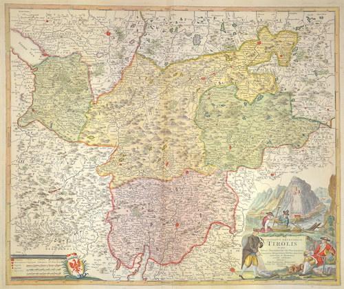 Homann Johann Babtiste Comitatus Principalis Tirolis in quo Episc. Tridentin et Brixensis, Comitatus Brigantinus, Feldkirchiae Sonnebergae et Pludentii