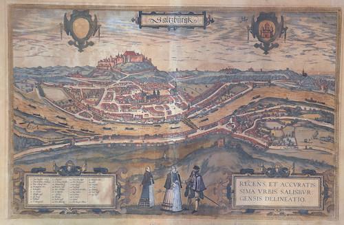 Braun/Hogenberg Franz/ Georg Saltzburgk Recens, et accuratissima urbis Salisburgensis delineatio.