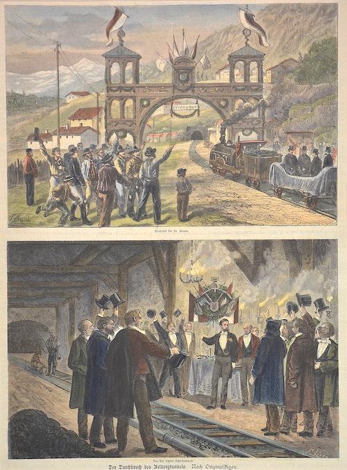 Anonymus  Einfahrt bei St. Anton. Der Durchbruch des Arlbergtunnels.