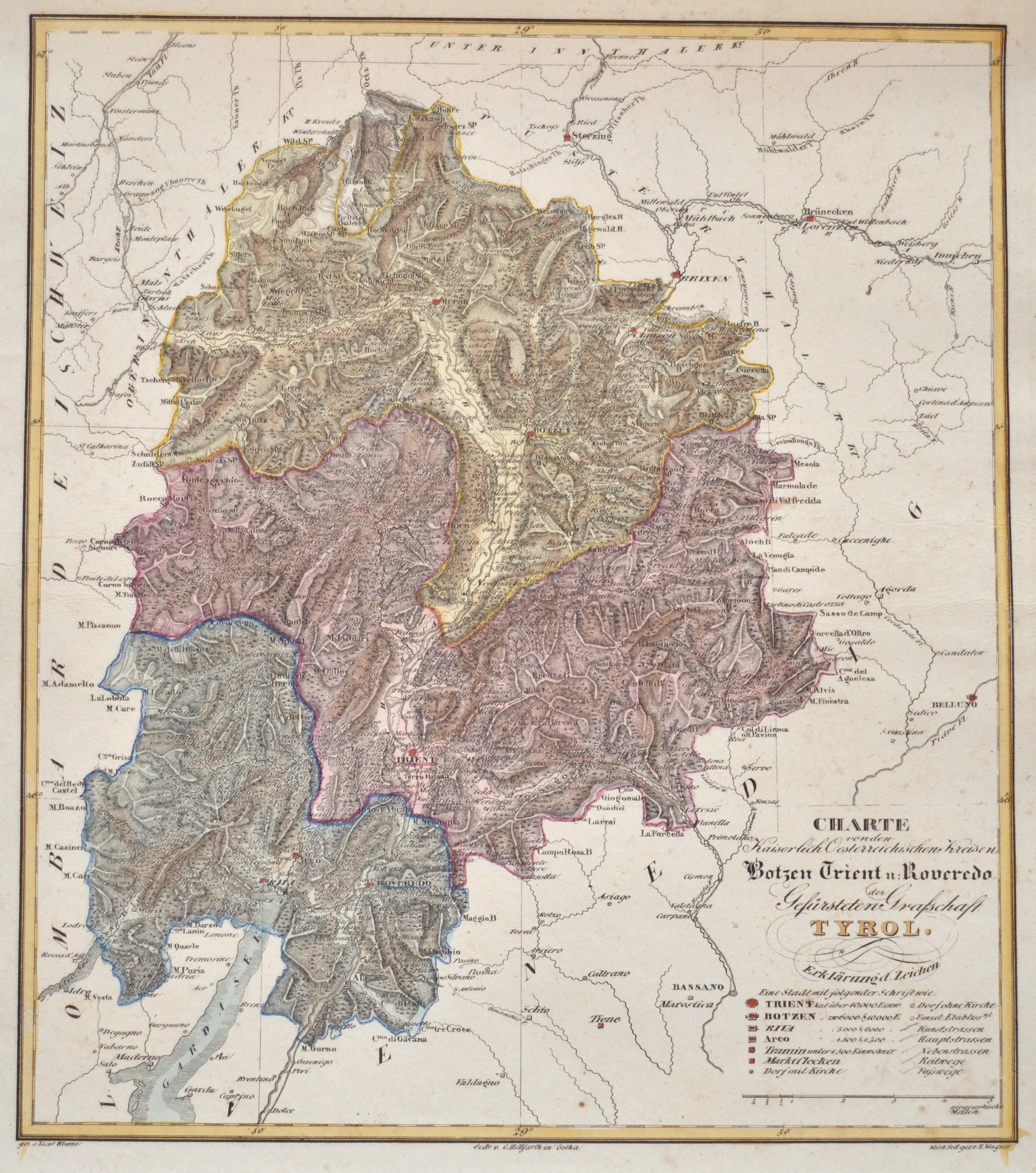 Wagner E. Charte von den Kaiserlich Oesterreichischen Kreisen Botzen Trient u: Roveredo der Gefürsteten Grafschaft Tyrol.