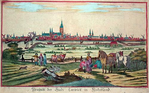Sommer  Prospekt der Stadt Cortrick in Flandern