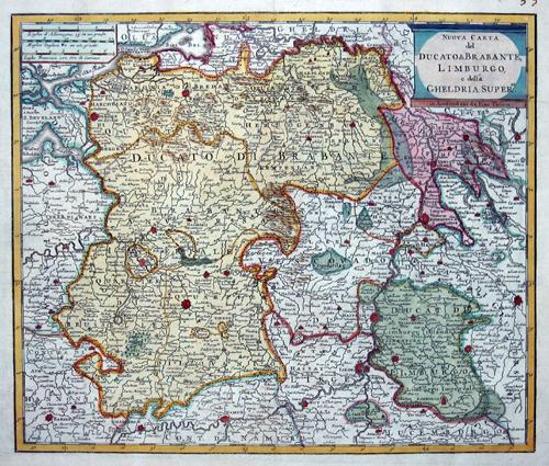 Tirion Isaak Nuova Carta del Ducato di Brabante, Limborgo, e della Gheldria Superre