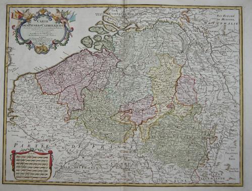 Dezauche/de l´Isle,  Carte des Paybas Catholiques dressee sur un grand nombre de Cartes particulieres…..
