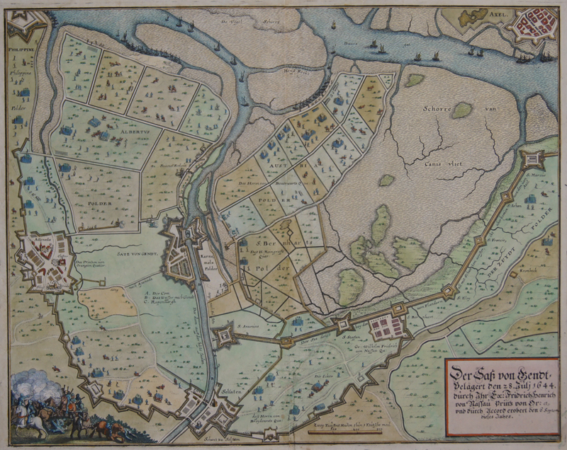 Merian Matthäus Der Sass von Gent belägert den 28. Juli 1644. Durch ihr Ex. Friedrich Henrich von Nassau Prinz von Or. Et und durch Accord erobert den 6. Sept…