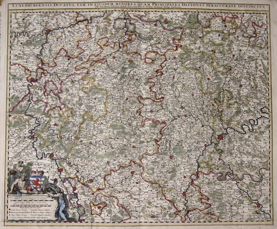 Visscher Nicolas Luxemburgensis Ducatus, tam in ejusdem minores, quam principales Ditiones peraccurate Distinctus,…
