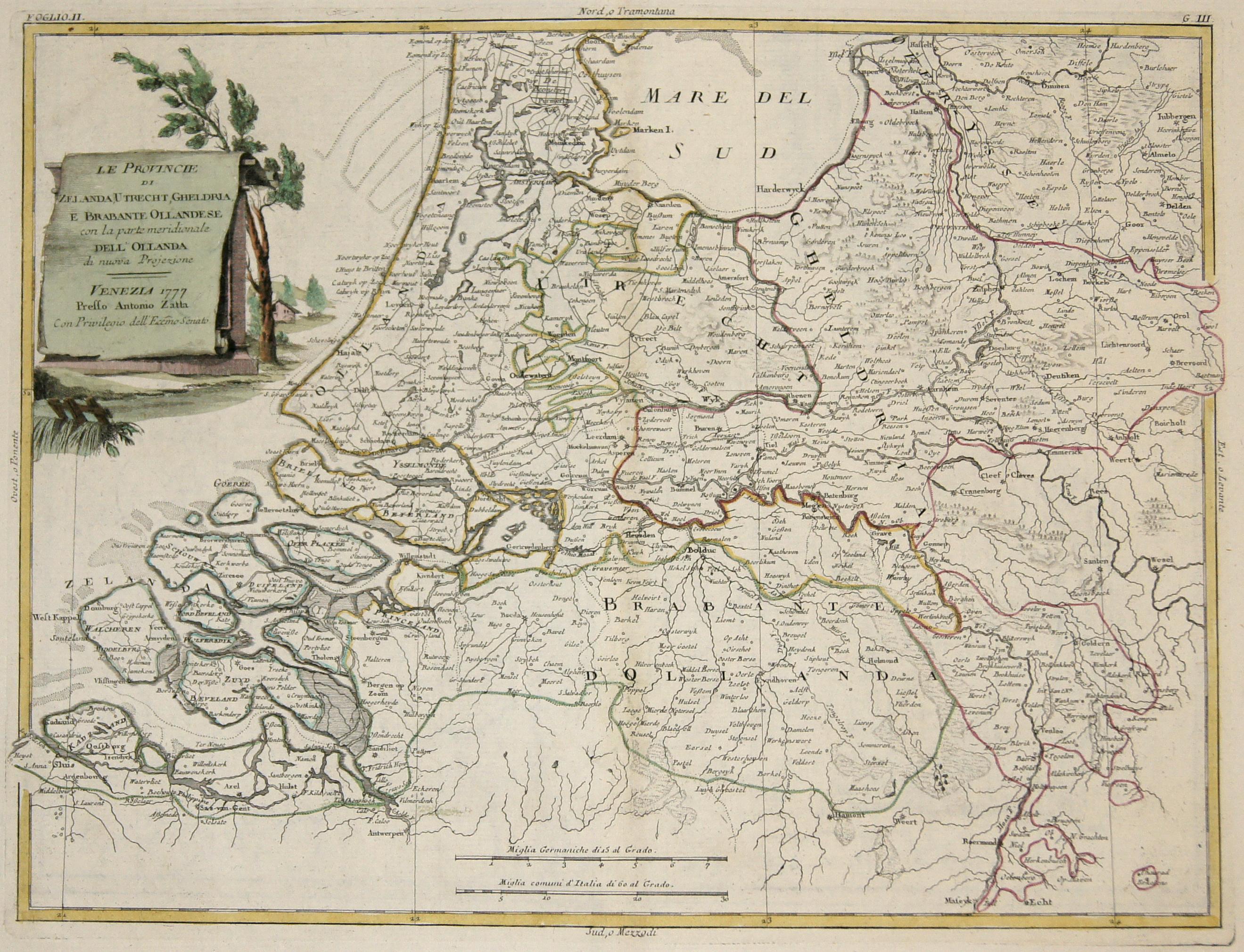 Zatta Antonio Le Provincie di Zelanda, Utrecht, Gheldria, e Brabante Ollandese con la parte meridionale dell' Ollanda