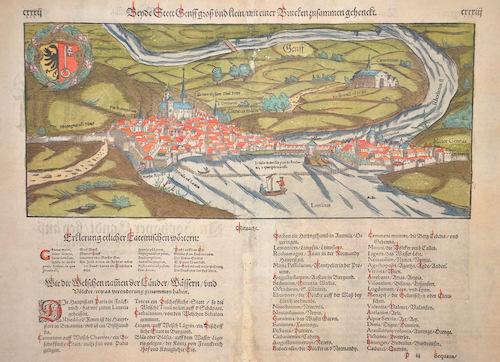 Münster  Beyde Stett Genff groß und klein/ mit einer Brucken zusammen gehängt