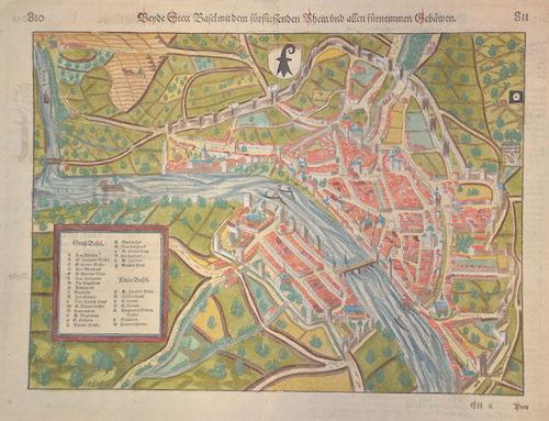 Münster  Bey de Stett Basel mit dem für fliesendem Rhein und allen fürnemmen Gebewen