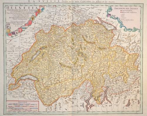 Homann Erben  La Suisse divisee en ses treze Cantons, ses Alliez et ses Sujets
