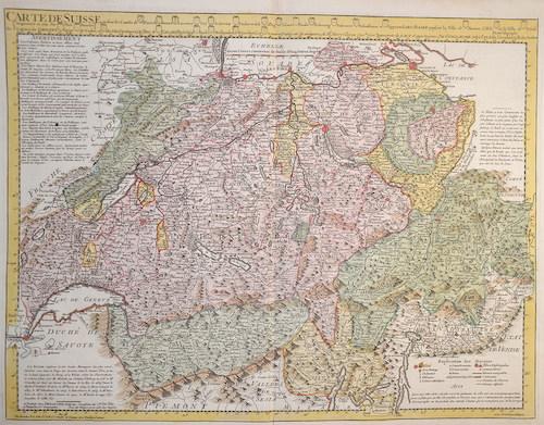 Dezauche J.A. Carte de Suisse ou sont les Cantos…….