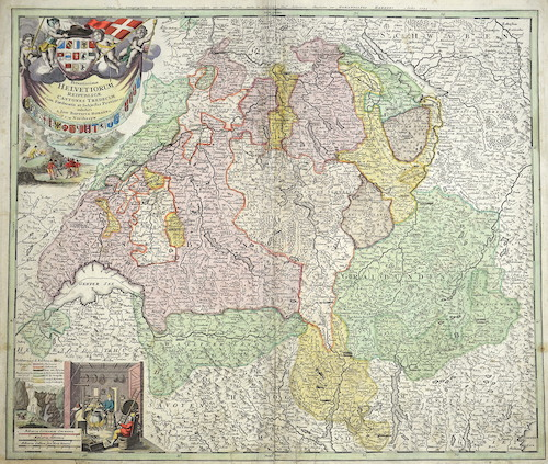 Homann Johann Babtiste Potentissimae Helvetiorum Reipublicae Cantones tredecim