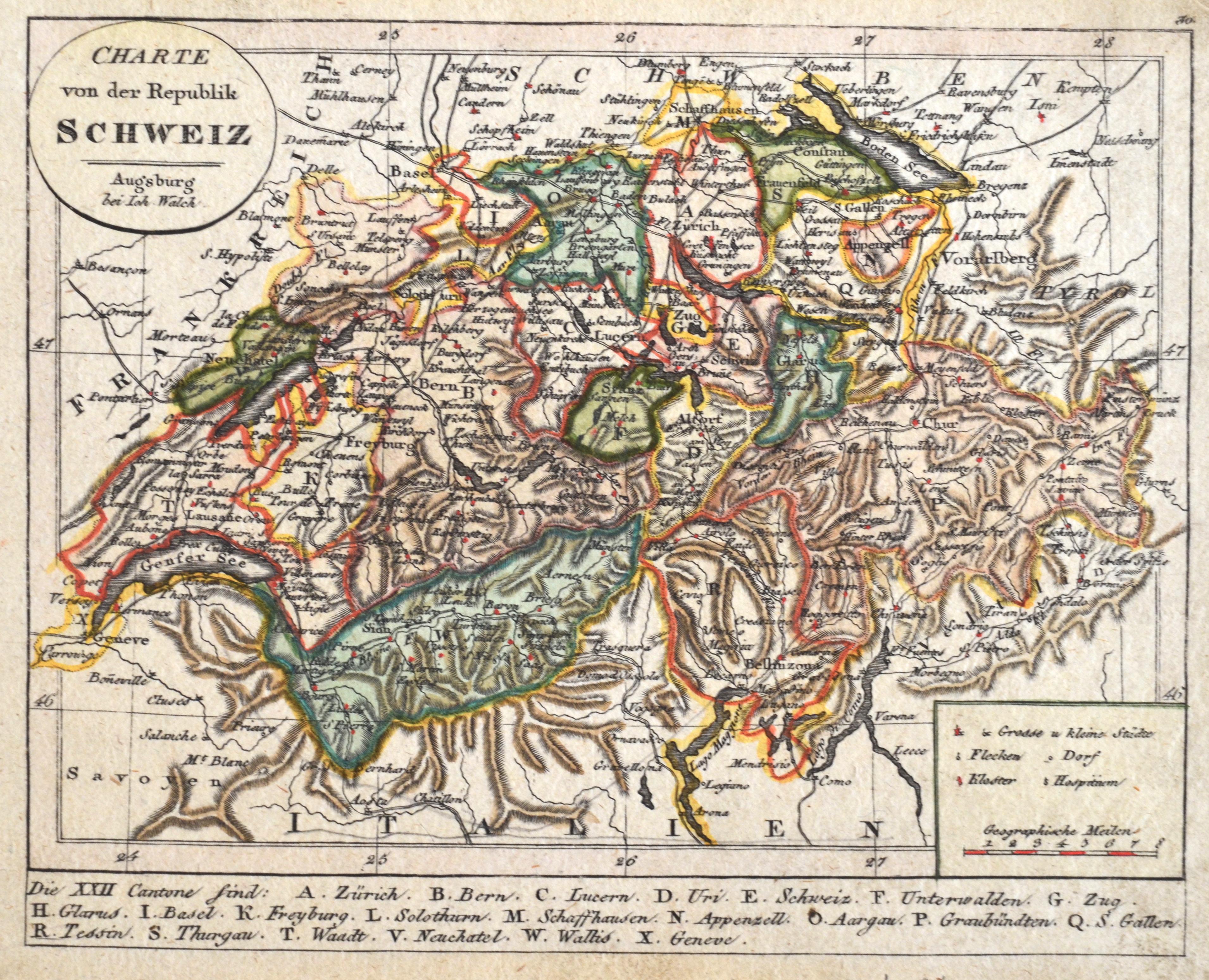 Walch Johann Charte von der Republik Schweiz