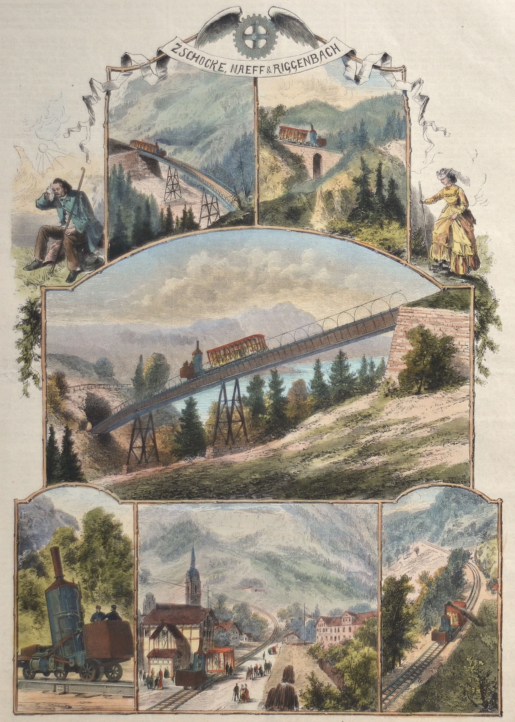 Fischer  Zschocke, Naeff & Riggenbach / Die Rigi-Eisenbahn in der Schweiz.