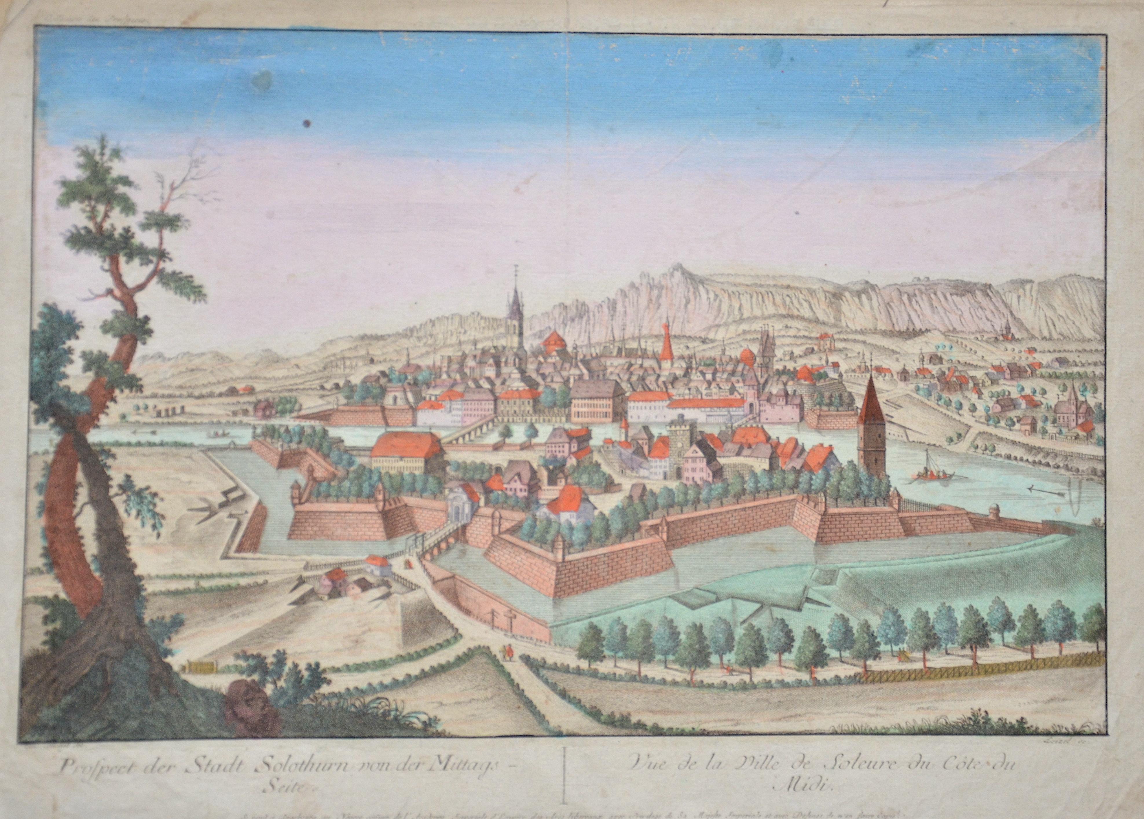 Leizel  Prospect der Stadt Solothurn von der Mittags-Seite. / Vue de la Ville de Soleure du Cote du Midi.