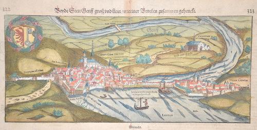 Münster Sebastian Beyde Stett Genff groß und klein/mit einer Brucken zusammengehängt