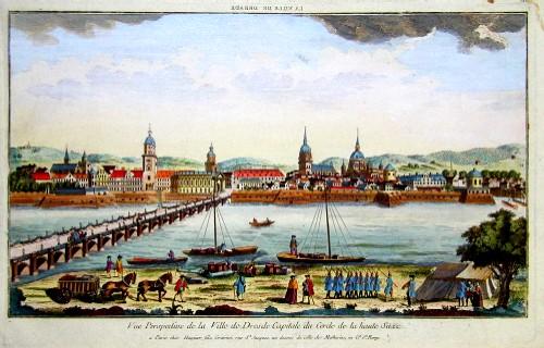 Huquier  Vue Perspective de la Ville de Dresde Capitale du Circle de la Haute Saxe