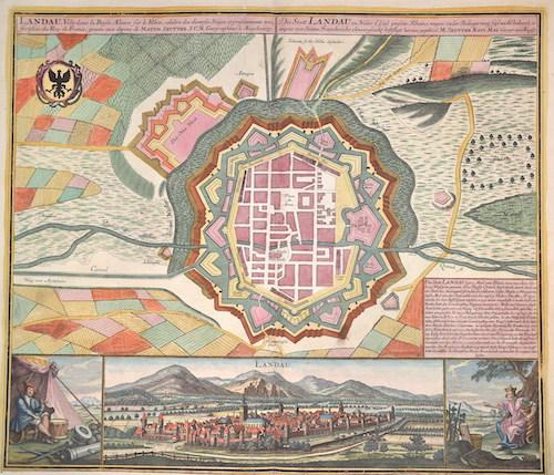 Seutter Matthias Die Statt Landau in Nieder Elsaß jenseits Rheins, wegen vieler Belagerung fast wohl bekannt und anjezo von Seiten Franckreichs ohnvergleichl.Befestigt