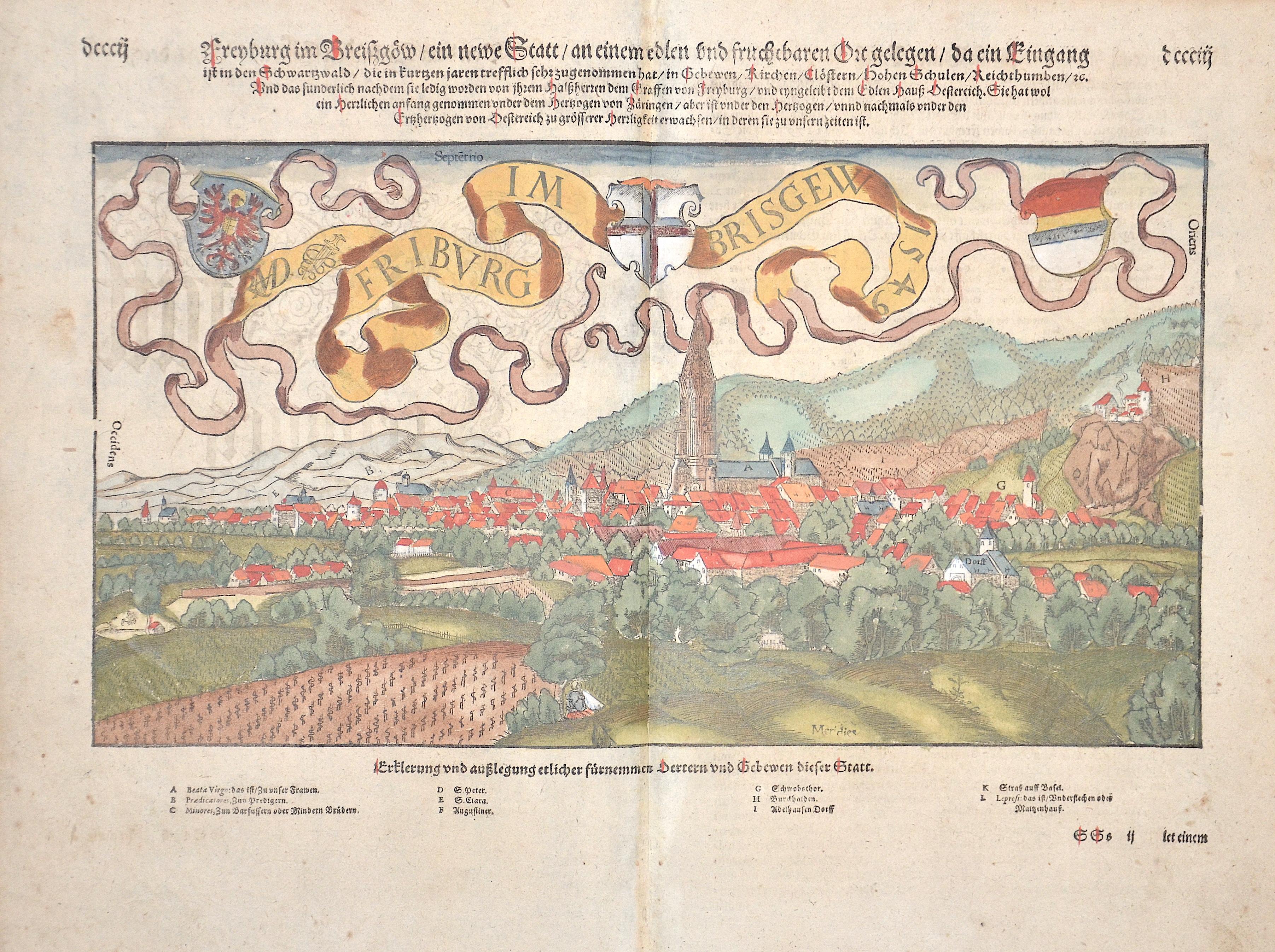 Münster Sebastian Freiburg im Breisz göw/ein newe Statt/ an einem edlen und fruchbaren Ort gelegen/da ein Eingang ist in den Schwarzwald