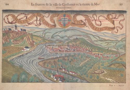 Münster  La situation de la ville Confluence ou la riuiere de Moselle entre de dans le Rhein