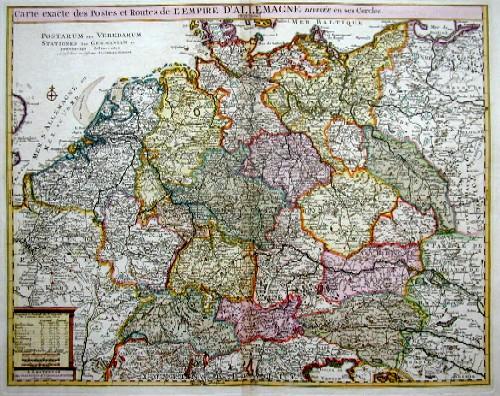 Covens/ Mortier  Carte exacte des Postes et Routes de L´Empire de Allemagne divesee en ses Cercles