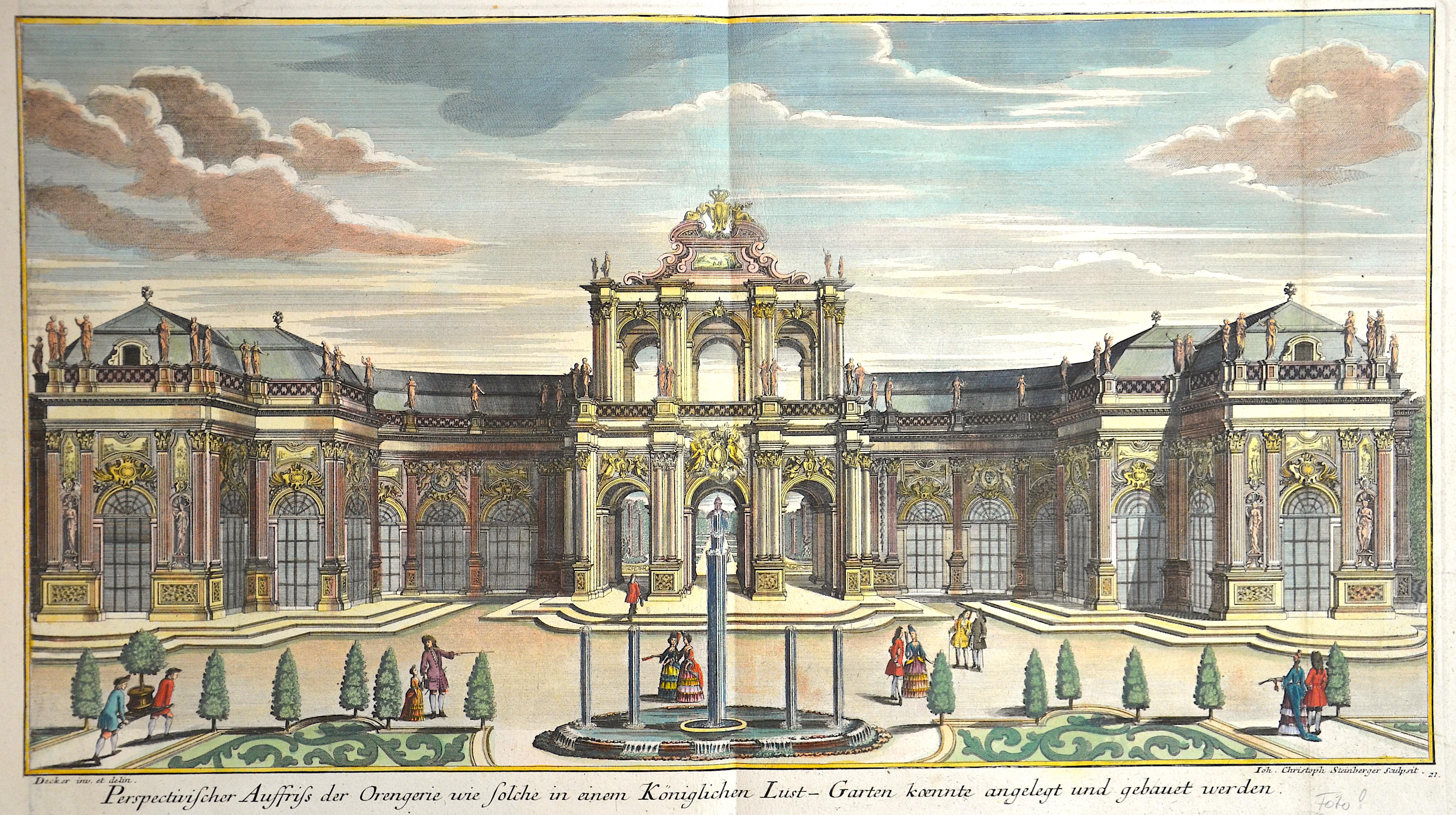 Wolff  Perspectivischer Auffriss der Orengerie wie solche in einem Königlichen Lust-Garten coente angelegt und gebaut werden