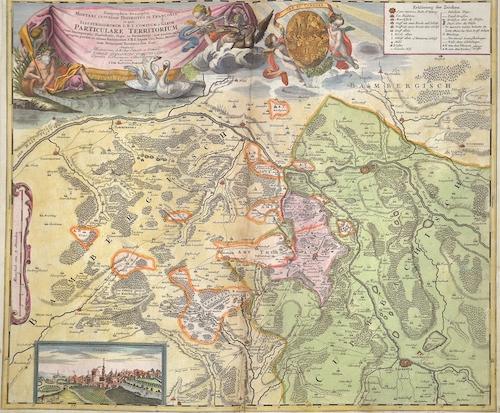 Homann Johann Babtiste Geographica descriptio Montani Cujustam Districtus in Franconia in quo illustrissimorum S.R.I. Comitum a Giech Particulare Territorium…