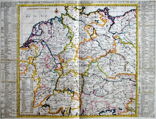 Chatelain Henri Abraham Nouvell Carte de L´Allemagne avec des tables des branches de la noblesse  et les lieux les plus