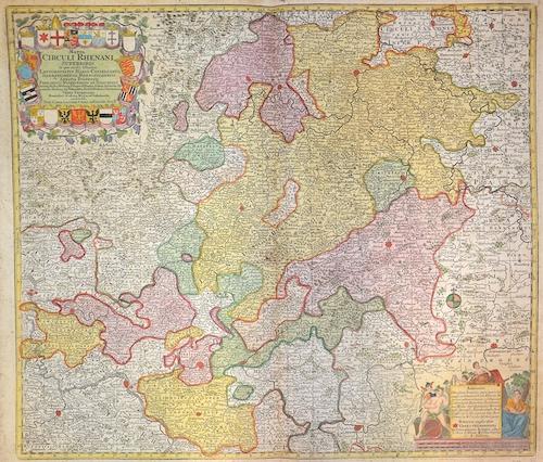 Lotter Tobias Conrad Mappa circuli rhenani Superiores in quo oculis Fistuntur Landgraviatus Hasso-Casselanos, Darmstadiensis, Rhenofeldensis, Abbatia fuldensis…