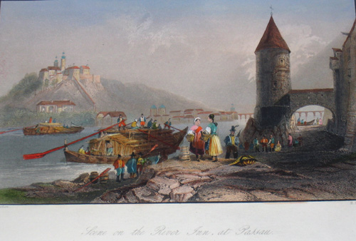 Brandard E. Scene on the river Inn at Passau